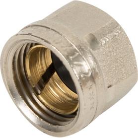 Соединитель коллекторный Valtec, обжимной, для медной трубы, 15 мм, никелированная латунь
