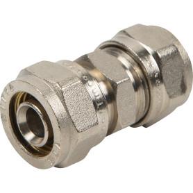 Соединитель обжимной Valtec, 16 мм, никелированная латунь VTm.303.N.001616