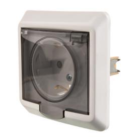 Розетка встраиваемая влагозащищённая Schneider Electric Этюд с заземлением, со шторками, IР44, цвет белый