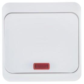 Выключатель накладной Schneider Electric Этюд 1 клавиша с подсветкой, цвет белый