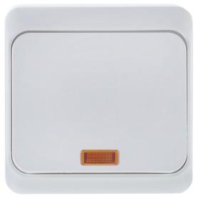 Переключатель накладной Schneider Electric Этюд 1 клавиша с подсветкой, цвет белый