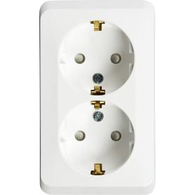 Розетка двойная накладная Schneider Electric Этюд с заземлением, со шторками, цвет белый