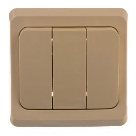 Выключатель встраиваемый Schneider Electric Этюд 3 клавиши, цвет кремовый