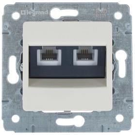 Телефонная розетка двойная встраиваемая Legrand Cariva RJ11, цвет слоновая кость