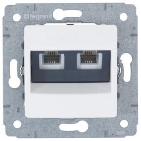 Телефонная розетка двойная встраиваемая Legrand Cariva RJ11, цвет белый