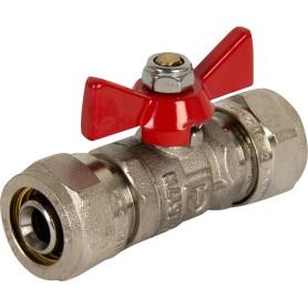 Кран шаровый Valtec, для металлопластиковой трубы под обжим, Ø16 мм, никелированная латунь