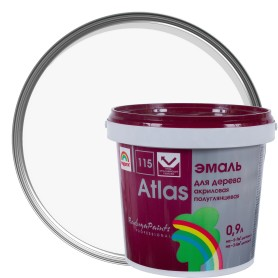 Эмаль Атлас 115 акриловая полуглянцевая цвет белый 0.9 л