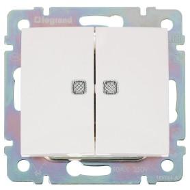 Выключатель встраиваемый Legrand Valena 2 клавиши с подсветкой, цвет белый