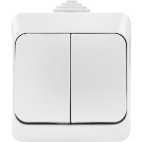 Выключатель накладной влагозащищённый Schneider Electric Этюд 2 клавиши IР44 цвет серый