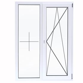 Окно ПВХ двустворчатое 130(127) х100 см глухое/поворотное правое однокамерное