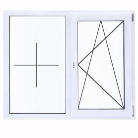 Окно ПВХ двустворчатое 130(127)х120 см глухое/поворотное правое однокамерное