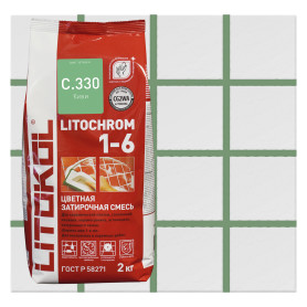 Затирка цементная Litochrom 1-6 С.330 2 кг цвет зелёный