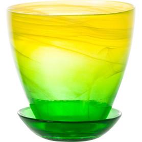 Горшок цветочный «Современный» D13, 0, 8л., стекло, Жёлтый / золотой, Зеленый