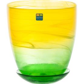 Горшок цветочный «Современный» D15, 2л., стекло, Жёлтый / золотой, Зеленый