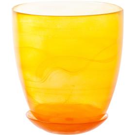 Горшок цветочный «Современный» D15, 2л., стекло, Жёлтый / золотой