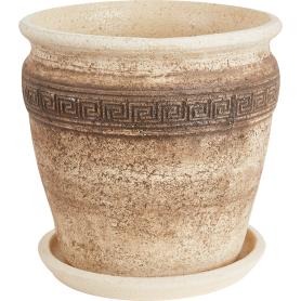 Горшок цветочный «Аттика» D34, 18л., керамика, Бежевый, Коричневый