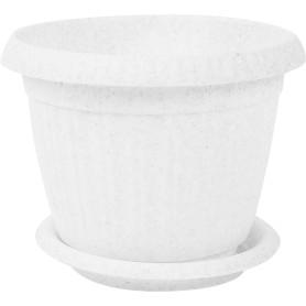 Горшок цветочный D13, 0, 7л., пластик, Белый, Серый / Серебристый