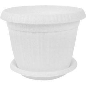 Горшок цветочный D23, 4л., пластик, Белый, Серый / Серебристый