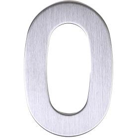 Цифра «0» самоклеящаяся 95х62 мм нержавеющая сталь цвет серебро