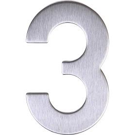 Цифра «3» самоклеящаяся 95х62 мм нержавеющая сталь цвет серебро