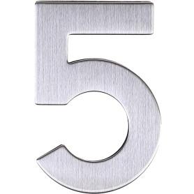 Цифра «5» самоклеящаяся 95х62 мм нержавеющая сталь цвет серебро