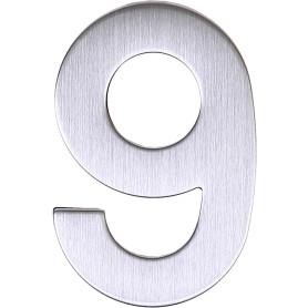 Цифра «9» самоклеящаяся 95х62 мм нержавеющая сталь цвет серебро