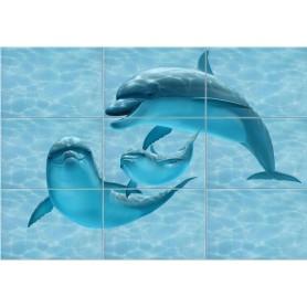 Панно «Лагуна Дельфины» 74.7х109.2 см цвет голубой