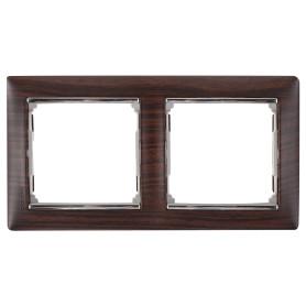 Рамка для розеток и выключателей Legrand Valena 2 поста, цвет светлое дерево/серебряный штрих