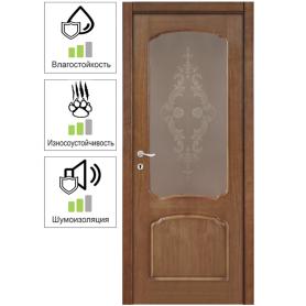 Дверь межкомнатная остеклённая Helly 60x200 см, шпон, цвет тонированный дуб