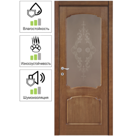 Дверь межкомнатная остеклённая Helly 90x200 см, шпон, цвет тонированный дуб