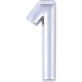 Цифра «1» самоклеящаяся 40х32 мм пластик цвет матовое серебро