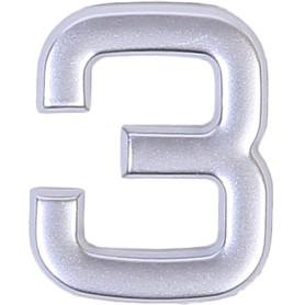 Цифра «3» самоклеящаяся 40х32 мм пластик цвет матовое серебро