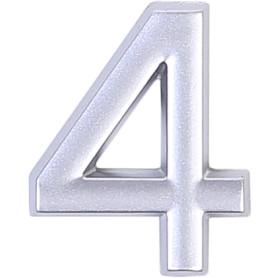Цифра «4» самоклеящаяся 40х32 мм пластик цвет матовое серебро