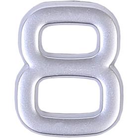 Цифра «8» самоклеящаяся 40х32 мм пластик цвет матовое серебро