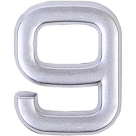 Цифра «9» самоклеящаяся 40х32 мм пластик цвет матовое серебро