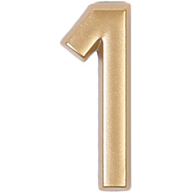 Цифра «1» самоклеящаяся 40х32 мм пластик цвет матовое золото