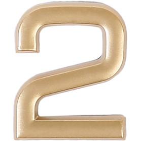 Цифра «2» самоклеящаяся 40х32 мм пластик цвет матовое золото
