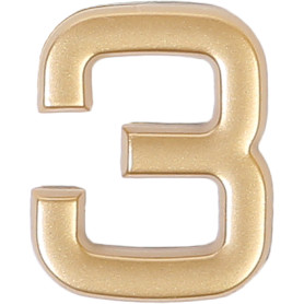 Цифра «3» самоклеящаяся 40х32 мм пластик цвет матовое золото