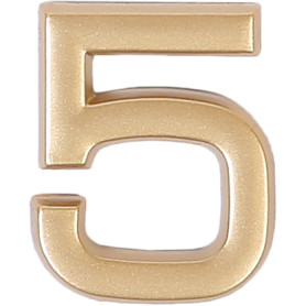 Цифра «5» самоклеящаяся 40х32 мм пластик цвет матовое золото