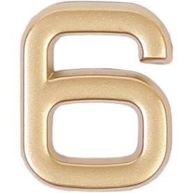 Цифра «6» самоклеящаяся 40х32 мм пластик цвет матовое золото