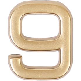 Цифра «9» самоклеящаяся 40х32 мм пластик цвет матовое золото