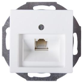 Телефонная розетка встраиваемая ABB Basic 55 RJ11, цвет белый