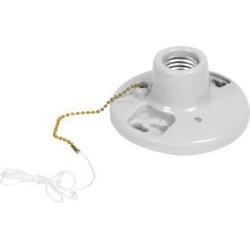 Патрон-стойка керамическая E27 с выключателем цвет белый