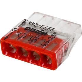 Клемма Wago 4 разъема под провода с пастой, 18х5.8х16.7 мм, поликарбонат, 6 шт.