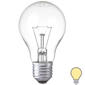 Лампа накаливания E27 40 Вт шар прозрачный, тёплый белый свет