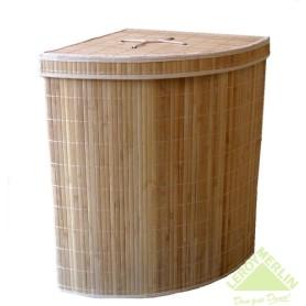 Корзина для белья Storidea складная угловая с крышкой и чехлом бамбук/ткань цвет коричневый