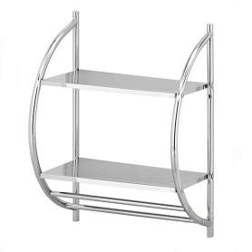 Полка для ванной комнаты двухъярусная с полочками металл
