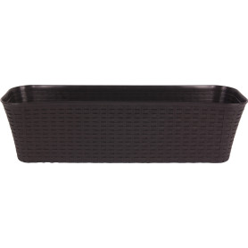 Ящик балконный «Ротанг» 58.5х18х16 см, 16.5 л, пластик, Коричневый