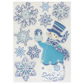 Наклейки 3D «Снеговик и Снежинки»