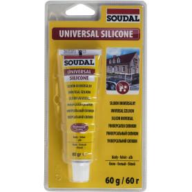 Герметик силиконовый белый Soudal, универсальный, 60 мл